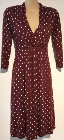 MAMAS & PAPAS BURGUNDY SPOTTY MATERNITY & NURSING DRESS SIZE 10